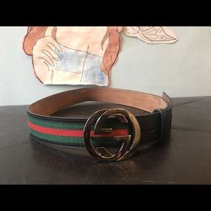 Gucci red green stripes w/ leather & silver buckle